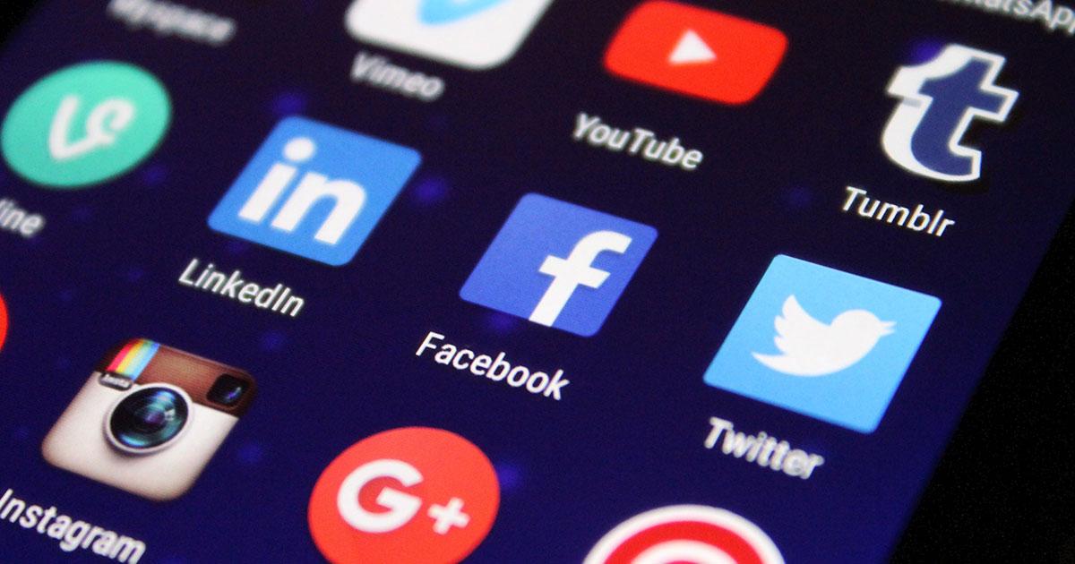 Sociala medie symboler på en telefon