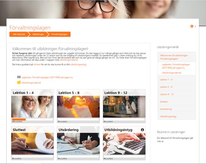 Skärmbild av SIPUs lärportal